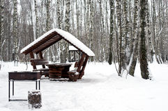 Alcove with brazier covered with snow. Alcove with brazier  covered with snow in park during heavy snowfall Royalty Free Stock Photography