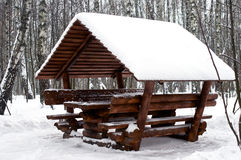 Alcove covered with snow. Alcove between trees covered with snow in park during heavy snowfall Stock Photography