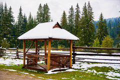 Alcove Pavilion in winter snow Stock Image