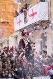 Alcoy, Espanha - 22 de abril de 2016: Povos vestidos como o legio cristão Foto de Stock Royalty Free