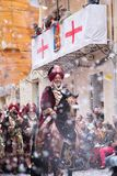 Alcoy, Spain - April 22, 2016: People dressed as Christian legio Royalty Free Stock Photo