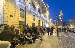 The city of Alcoy prepared to receive its magestades the Three K. Alcoy, Spain. January 5, 2018: The city of Alcoy prepared to receive its magestades the Three Stock Photography