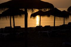 Alcudia 6. Sadow Beach in the gold sunset Stock Photos