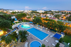 Alcudia city at evening - view from hotel Royalty Free Stock Image