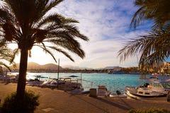 Alcudia Majorca no por do sol no porto Mallorca do porto Fotos de Stock