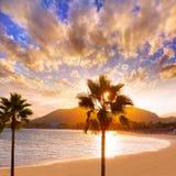 Alcudia Majorca at sunset on the beach Mallorca Stock Image