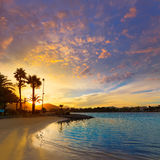 Alcudia Majorca at sunset on the beach Mallorca Stock Image