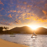 Alcudia Majorca at sunset on the beach Mallorca Stock Photography