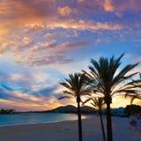 Alcudia Majorca at sunset on the beach Mallorca Stock Images