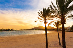 Alcudia Majorca at sunset on the beach Mallorca. Balearic islands Royalty Free Stock Images