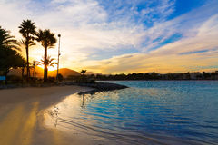 Alcudia Majorca at sunset on the beach Mallorca. Balearic islands Stock Images