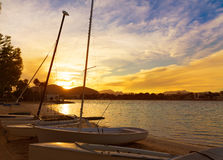 Alcudia Majorca at sunset on the beach Mallorca Royalty Free Stock Images