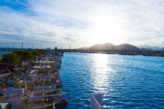 Alcudia Majorca at sunset on marina port Mallorca Stock Photos