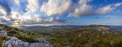 Alcudia och Pollensa panorama Royaltyfria Bilder