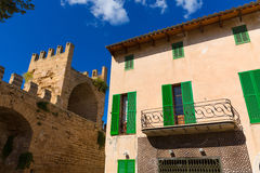 Alcudia Old Town fortres wall in Majorca Mallorca Stock Photo