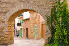 Alcudia Old Town fortress wall in Majorca Mallorca Royalty Free Stock Photo