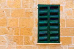 Alcudia Old Town wood shutters Mallorca Stock Photo