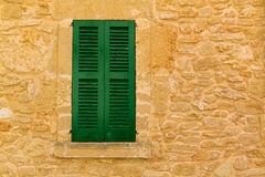 Alcudia Old Town wood shutters Mallorca Royalty Free Stock Image