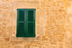 Alcudia Old Town wood shutters Mallorca Royalty Free Stock Photos