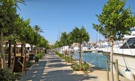 Alcudia port promenade panorama, Majorca Stock Photo