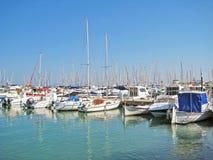 Alcudia port with ships, Majorca Royalty Free Stock Image