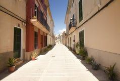 Alcudia Stary miasteczko w wyspie Majorca, Hiszpania 28 06 2017 Obrazy Royalty Free