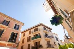 Alcudia Stary miasteczko w wyspie Majorca, Hiszpania 28 06 2017 Fotografia Stock