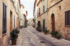 Alcudia. Street of the Alcudia village in Mallorca. Spain Royalty Free Stock Image