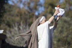Reenactment of Iberian Goddess Ataecina ritual. Priestess rising Royalty Free Stock Photography