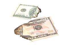 Alcune banconote bruciate dei dollari Immagine Stock Libera da Diritti