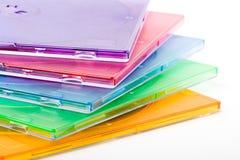 Alcune caselle di colore in pila Immagine Stock