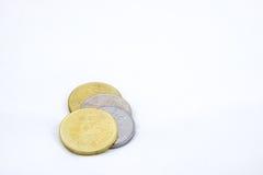 Alcune monete di ringgit su fondo bianco Fotografie Stock Libere da Diritti