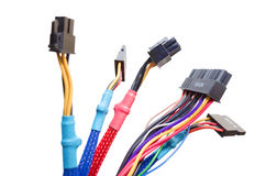 Cavi elettrici isolati su bianco Fotografia Stock