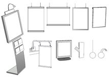 Alcuni disegni di pubblicità su una priorità bassa bianca Fotografie Stock Libere da Diritti