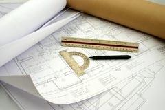 Alcuni progetti tecnici della costruzione Fotografia Stock Libera da Diritti