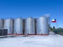 Alcuni wine tini di fermentazione metallici Immagini Stock Libere da Diritti