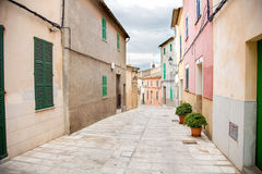 Aldúdia street. Photograph of non-touristic part of Alcúdia town and it´s architecture, Alcúdia, Mallorca, Balearic Islands, Spain Royalty Free Stock Photos