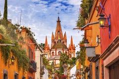 Aldama Street Parroquia Archangel Church San Miguel de Allende Mexico. Aldama Street Parroquia Archangel church Dome Steeple San Miguel de Allende, Mexico royalty free stock images