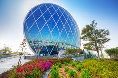 Aldar在阿布扎比,阿拉伯联合酋长国总部设大厦 库存照片