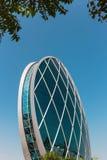 Aldar总部修造是第一个圆大厦它 图库摄影