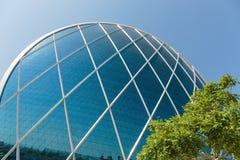 Aldar总部修造是第一个圆大厦它 免版税库存图片
