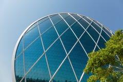Aldar总部修造是第一个圆大厦它 免版税库存照片