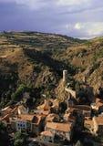 Aldea central del macizo de Francia auvergne del florete del st Foto de archivo libre de regalías
