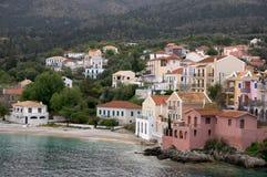 Aldea de Assos en Cephalonia Fotos de archivo libres de regalías