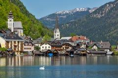 Aldea de Hallstatt, Austria Foto de archivo libre de regalías