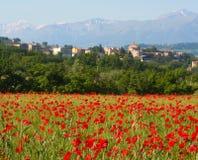 Aldea de la amapola, Italia central Imágenes de archivo libres de regalías