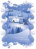 Aldea de la noche de la Navidad. Vector. Fotografía de archivo
