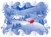 Aldea de la noche de la Navidad. Vector. Foto de archivo libre de regalías
