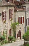 Aldea de Lapopie del Santo-Cirq Fotografía de archivo