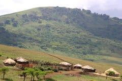 Aldea de Maasai Imagen de archivo libre de regalías